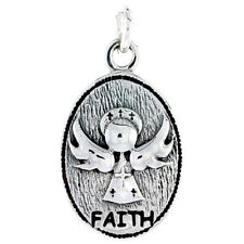 """Sterling Silver Guardian Angel Faith Inspirational Pendant Charm 3/4"""" tall"""