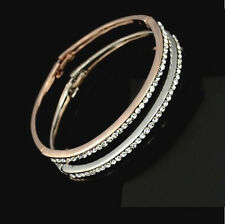 Girls Crystals Gold plated Bangle Bracelet Half Circle Cuff *see note*