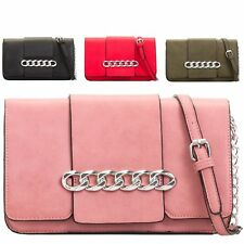 Ladies Faux Leather Chain Clutch Bag Bridal Purse Shoulder Bag Handbag KT2141