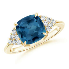 Cushion London Blue Topaz Cluster Diamond Accents Ring 14K Yellow Gold