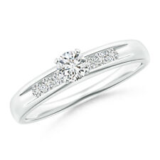 Channel Grooved Classic Diamond Solitaire Engagement Ring White Gold Size 3-13