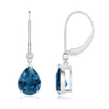 3.8 Ct Pear Shaped London Blue Topaz Diamond Stud Earrings 14k White Gold