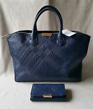 Auth Burberry Wellington Wallet Medium Dewsbury Tote Check Embossed Leather Blue