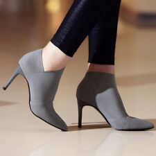 Leather Microfiber Ankle Boots Women Fashion Pointed Toe High Heel Size 9