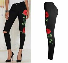New Fashion  Embroider Flowers Printed  Ripped Pencil Stretch Djeans for Women