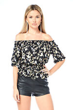 Edgelook Floral Lace-Up Smocked Waist Blouse Top