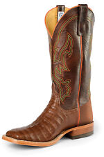 Anderson Bean Mens Raven Leather Tobacco Caiman Belly Cowboy Boots