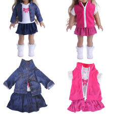 Doll Fancy Jeans Shirt Dress Suit for 18' American Girl Doll Clothes Outfit P&T