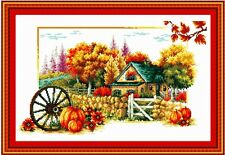 Autumn seasons cross stitch kit lanscape stamped 18ct 14ct 11ct counted canvas