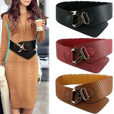 Women Ladies Stretch Buckle Waist Belt Bow Wide Leather Elastic Corset Waistband