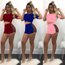 Women's 2pcs Sports Short Sleeve Jumpsuit Romper Casual Hooded Crop Top Pants