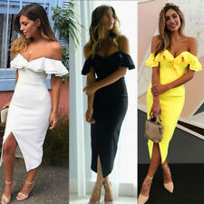Women's Off Shoulder Sexy Bodycon Evening Party Cocktail Clubwear Long Dress