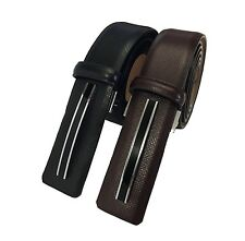 Men's Genuine Cowhide Black & Brown Leather GOLD PACO Belt Smooth/Pin Buckle