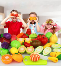 Kids Kitchen Fruit Vegetable Food Pretend Role Play Funny Cutting Set Toys UB