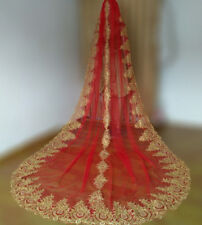 Ivory/Red Bridal Veil Cathedral Long Gold Lace Edge Wedding Veils + Comb 0272
