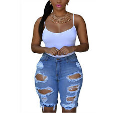 New Womens Destroyed Ripped Distressed Casual Denim Short Pants Jeans Trousers