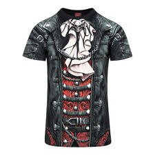Spiral Direct - Black Goth Wrap T Shirt - Gothic Faux Leather Jacket Print Tee