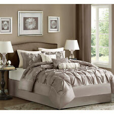 7pc solid taupe tufted polyester comforter sham bedskirt set