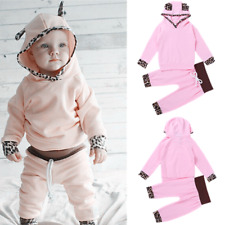 Newborn Infant Baby Girl Leopard Hooded Tops Long Pants Outfits Clothes Set -18M