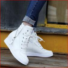 Womens Lace Up Zip Oxfords Hidden Wedge Sneakers Hi Top Tennis Shoes Boots