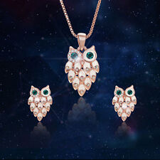Women Girl Fashion Pendant Crystal Necklace Earrings Wedding Party Jewelry Sets
