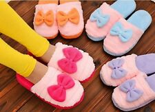 Women Large Bow Love Slippers Winter Warm Cotton Fabric Indoor Home Floor Shoes
