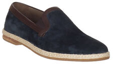 Dolce & Gabbana Men's Navy Blue Suede Leather Loafers Slip On Flats Shoes