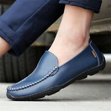 Mens Driving Casual Boat Soft Leather Slip On Loafers Moccasin Comfy Flats Shoes