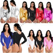 Sexy Women's Lingerie Wet Look Bodycon High Cut Leotard Thong Jumpsuit Bodysuit