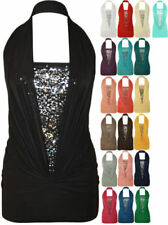 Ladies Sequin Halter Neck Ruched Boob Tube Womens Stretch Sleeveless Top 8 - 16