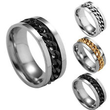 Fashion Women Mens Steel Rotatable Chain Band Ring Finger Spinner Ring ToysBLCA