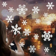 81/108pcs Snowflake Window Clings Reusable Stickers Christmas Decorations Decal