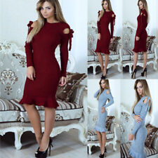 Party Evening Casual Bandage Dress Women Bodycon Long Sleeve Midi Dresses