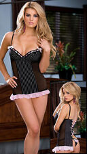 Dreamgirl 6216 Sexy Lingerie Pinstripe Microfiber Babydoll W/Matching Thong NEW