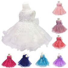 Baby Flower Girls Lace Christening Wedding Bridesmaid Party Kids Princess Dress