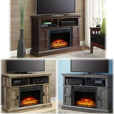 """Electric Fireplace TV Stand 55"""" Entertainment Center Pine Media Insert Heater"""