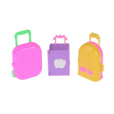 Cute Plastic Rolling Suitcase Luggage Box for Barbie Doll Travel Accessories BH