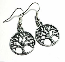 Tree of Life Earrings vintage Pagan style Studs Clip on or 925 Silver Hooks