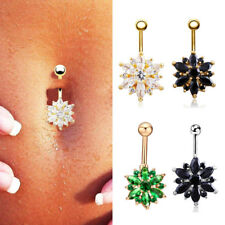 Flower Gem Crystal Rhinestone Body Piercing Jewelry Belly Button Navel Ring Gift