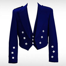 Prince Charlie Kilt Jacket Scottish Blue in 100% wool with Waistcoat