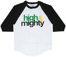 Mighty Healthy High And Mighty Raglan T-Shirt White Black Sleeve Weed Fashion