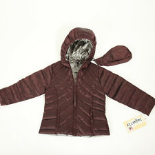 Sugarfly Girls Plum Hooded Packable Down Jacket Outerwear Coat with Pouch NEW!