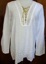 NWT $120 MICHAEL Michael Kors White Cotton Embroidered Gold Chain Tunic