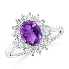 1.5 ct Oval Flower Amethyst and Diamond Halo Engagement Ring 14K White Gold