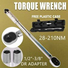 """1/2"""" & 3/8"""" Drive Torque Ratchet Wrench Micrometer 28-210NM Adjustable Case"""