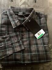 OAKLEY Mens $65 REPETITION Woven LS PLAID SHIRT Small JET BLACK PLAID Small New