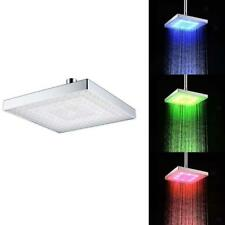 LED Color Changing Rainfall 8 inch Rectangular Waterfall Shower Head