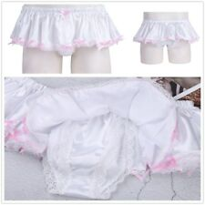 Sissy Pouch Panties crossdress lace sexy Men Satin skirted thong Brief Underwear