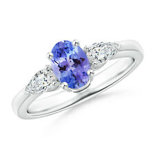 1.1 ctw Three Stone Tanzanite Diamond Ring 14k White Gold/ Platinum Size 3-13