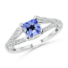 Solitaire Princess cut Tanzanite Ring With Diamond Accents in 14k White Gold